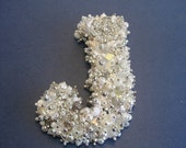 Monogram LETTER J  WALL Decoration 4 1/2 inches Vintage Jewelry Rhinestones Silvertone White