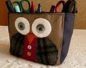 Owl fabric pencil holder bag, boxy bag