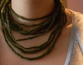 CUSTOM for hideandmoore Olive Green Wet Felted Necklace