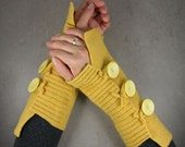 fingerless mittens arm warmers in banana yellow recycled wool
