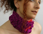 RESERVED - scarflette neck collar cowl neck warmer neck corset knitted ruffles purple red tangerine tagt team