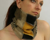 neck warmer eco friendly cowl tube scarf recycled wool repurposed yellow beige fall autumn brown tagt team curationnation