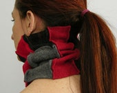 tube cowl tube scarf neck warmer eco friendly scarf in recycled wool brick red grey patchwork repurposed fall autumn harvest