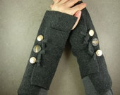 Grey arm warmers fingerless gloves fingerless mittens  wrists warmers arm cuffs recycled wool eco friendly tbteam therougett