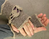 Knit fingerless gloves arm warmers fingerless mittens mottled orchid nougat tweed beige lace romantic victorian tbteam therougett