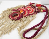 necklace crochet knit cotton ethnic inspired tribal boho african ecru burgundy tangerine tagt team curationnation