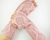 long fingerless gloves fingerless mittens arm warmers cable knit pale pastel pink fall autumn curationnation