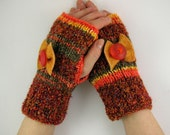 knit fingerless gloves arm warmers fingerless mittens women vegan yellow orange brown bow  curationnation