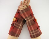 felted fingerless gloves wrists warmers eco friendly arm warmers fingerless mittens arm cuffs tagt rusty orange brown plaid recycled wool