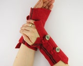 recycled wool fingerless mittens arm warmers arm cuffs fingerless gloves women eco friendly fashion fall rusty orange tagt team teamt