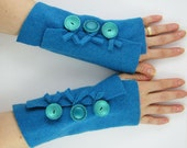 eco friendly  fingerless gloves fingerless mittens arm warmers women arm cuffs turquoise recycled wool tagt curationnation