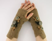 recycled wool arm warmers fingerless mittens  wrists warmers arm cuffs fingerless gloves camel brown fall autumn eco friendly curationnation