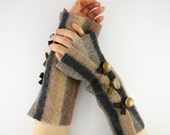 arm warmers fingerless mittens fingerless gloves arm cuffs recycled wool beige grey fall autumn eco friendly curationnation