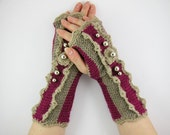 RESERVED - Knit crochet fingerless gloves arm warmers fingerless mittens cyclamen taupe lace romantic victorian curationnation