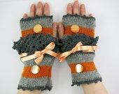 Knit fingerless gloves arm warmers fingerless mittens grey orange lace romantic victorian  therougett curationnation