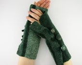 Fingerless mittens arm warmers fingerless gloves arm cuffs dark green vertical banding eco friendly recycled wool tagt team