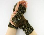 knit fingerless gloves knit arm warmers fingerless mittens brown black olive brown unisex men women fall autumn tagt team teamt