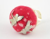 ring dragonflies on a toadstool felt and metal free shipping woodland fairy tale autumn fall harvest tagt team curationnation