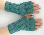 knit fingerless mittens fingerless gloves wrists warmers gauntlets merino wool teal blue turquoise women curationnation