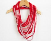 Scarf necklace infinity scarf loop scarf neck wrap neck warmer knit necklace red orchid white curationnation therougett