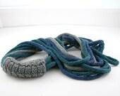 scarf necklace neck warmer knitted necklace neck wrap infinity scarflette  teal denim blue light grey tagt curationnation