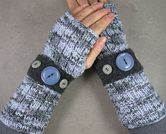 fingerless mittens arm warmers knitted in retro grey blend with vintage buttons
