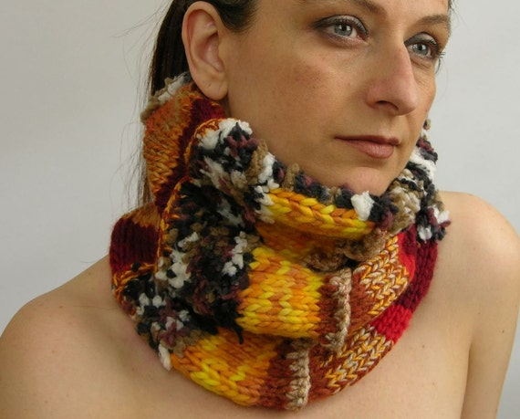 neck warmer scarf cowl tube scarf tube cowl knit hearth tones brown yellow red fall tagt team teamt