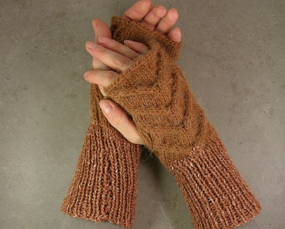 cable knit fingerless gloves fingerless mittens arm warmers  in caramel peanut butter nougat tweed wool alpaca silk tbteam therougett
