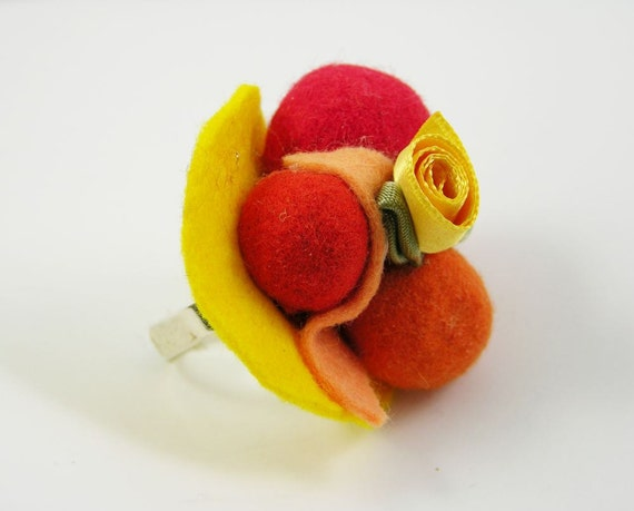 ring felt balls yellow orange red women adjustable free shipping funny bold burlesque carnival mardi gras