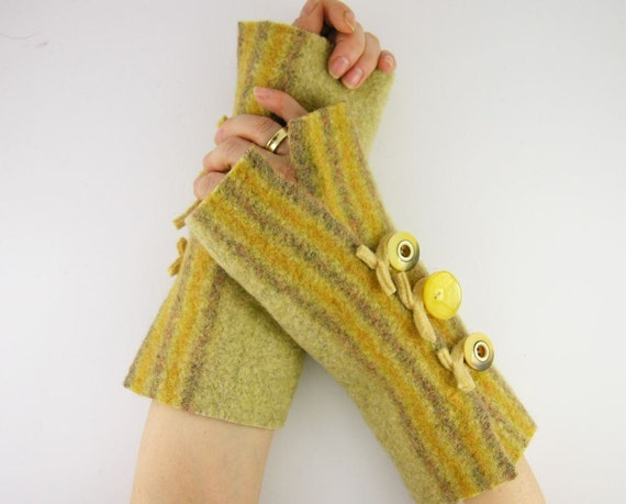 arm warmers fingerless mittens fingerless gloves arm cuffs recycled wool ecru yellow autumn eco friendly fall therougett curationnation