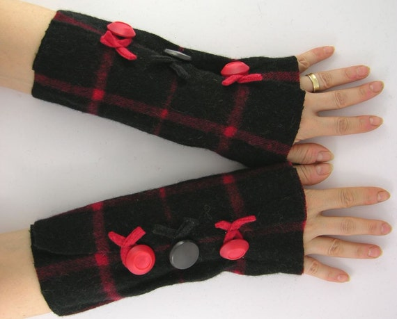 arm warmers fingerless mittens felted fall fingerless gloves arm cuffs recycled wool plaid red black eco friendly tagt curationnation