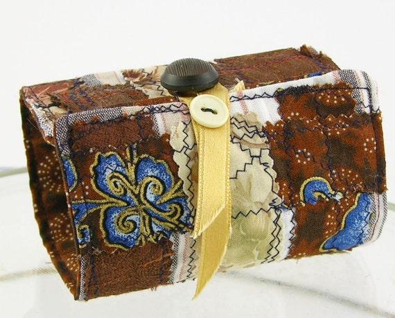 wrist cuff fabric cuff arm cuff coffee cuff bookmark fall autumn chocolate brown repurposed textiles teamt