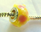 Lollipop - Pink and White on Bright Yellow Murano Bead for Pandora --S246