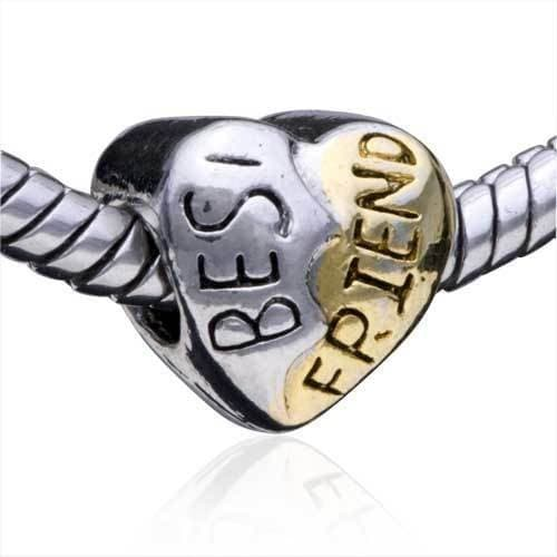 best friend two tone charm bead for pandora