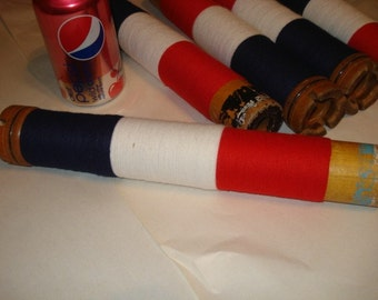 Vintage Textile Mill Industrial Spool with Red White Blue Yarn