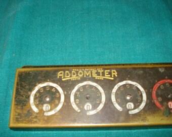 Vintage Brass ADDOMETER Adding Machine
