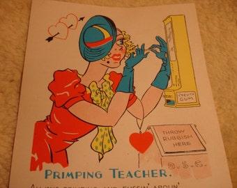 Vintage Fifties Paper Valentine PRIMPING TEACHER