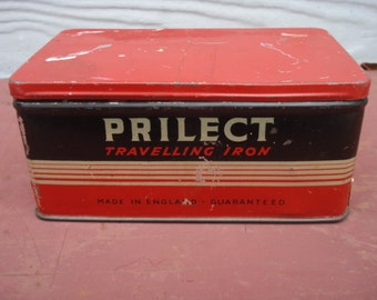 Vintage Advertising Tin box- Prilect Traveling Iron