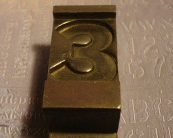Vintage Solid Brass PrintersBlock Number 3