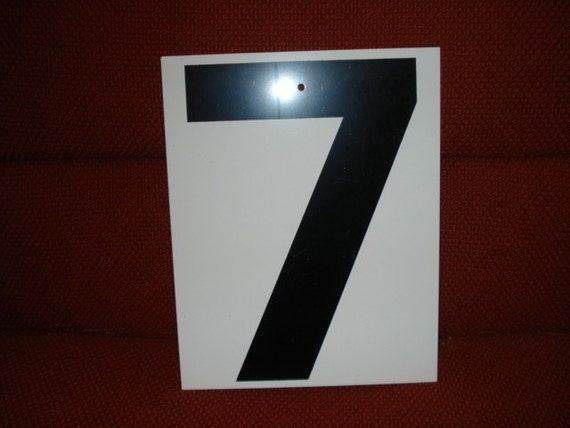 Vintage Metal Double Side Sign Number 7 or 8
