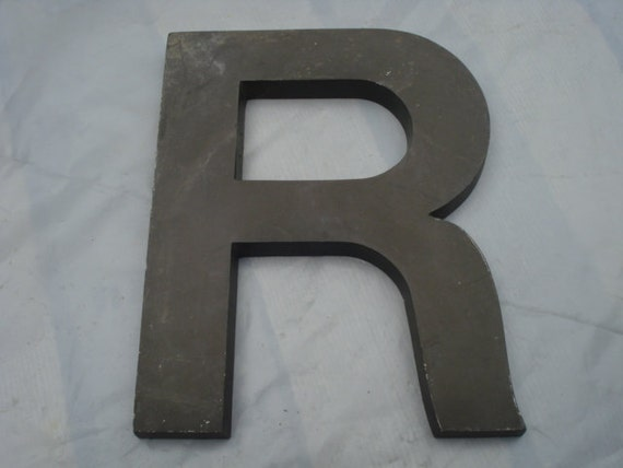 "Vintage Cast Aluminum 10"" Sign Letter R-Brown"