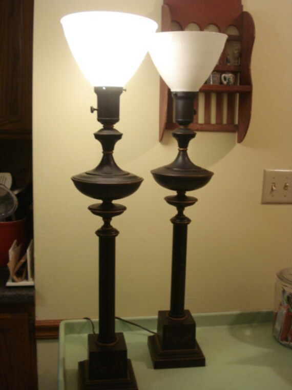 Vintage Pair of Tole Black and Gold Trim Table Lamps