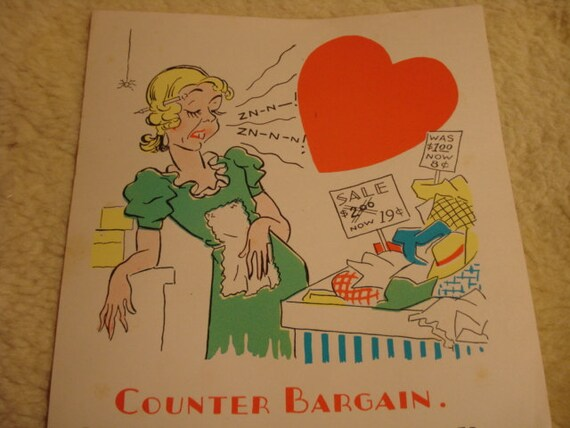 Vintage Fifties Paper Valentine COUNTER BARGAIN