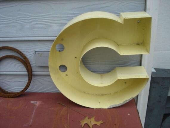 Vintage Metal Store Sign Letter c