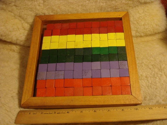 Vintage Colorful School Block Learning Game