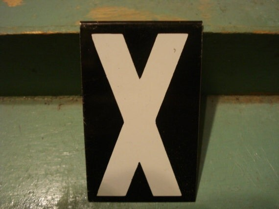 Vintage Hanging Tin Sign Letter X