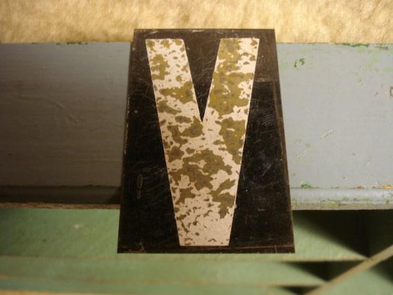 Vintage Hanging Tin Sign Letter V
