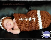 Crochet Pattern FOOTBALL Baby Cocoon and Hat Set Photography Prop