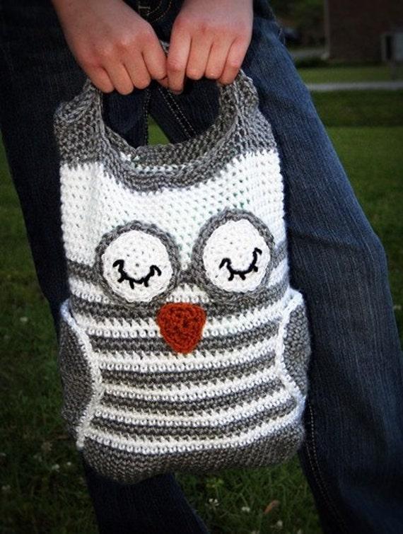 Crochet Pattern Handbag Owl Tote Instant Download