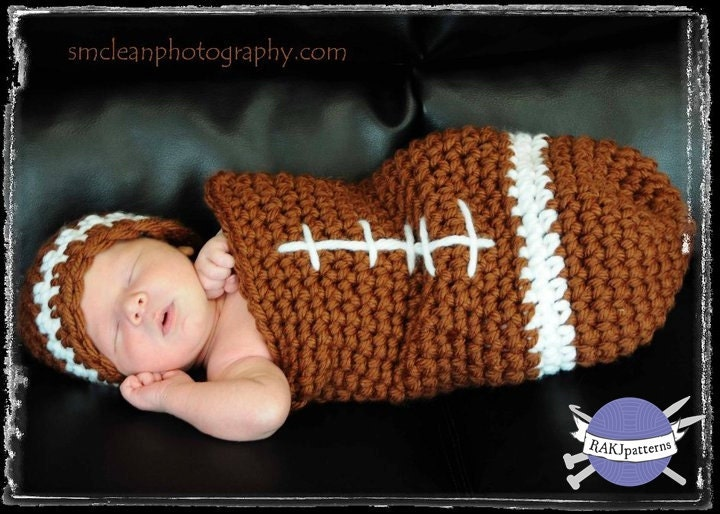 Crochet Pattern Baby Hat Free : Crochet Pattern FOOTBALL Baby Cocoon and Hat Set by ...